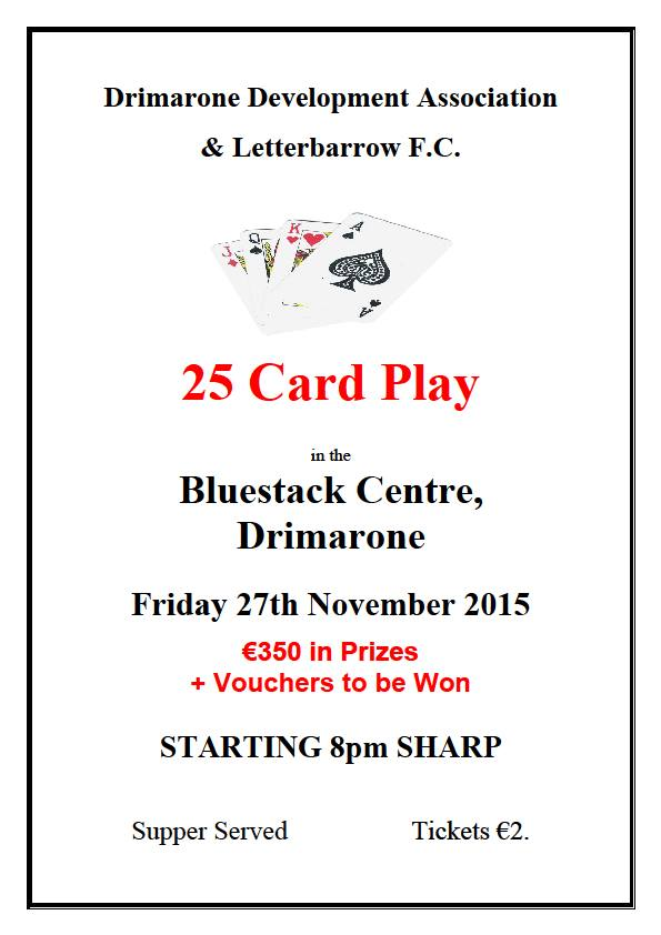 25 Card Play at The Bluestack Centre
